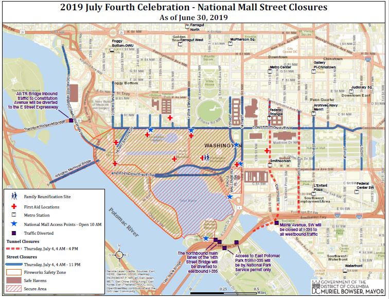 Map of Street Closures including National Mall area for DC 2019 July Fourth Celebration