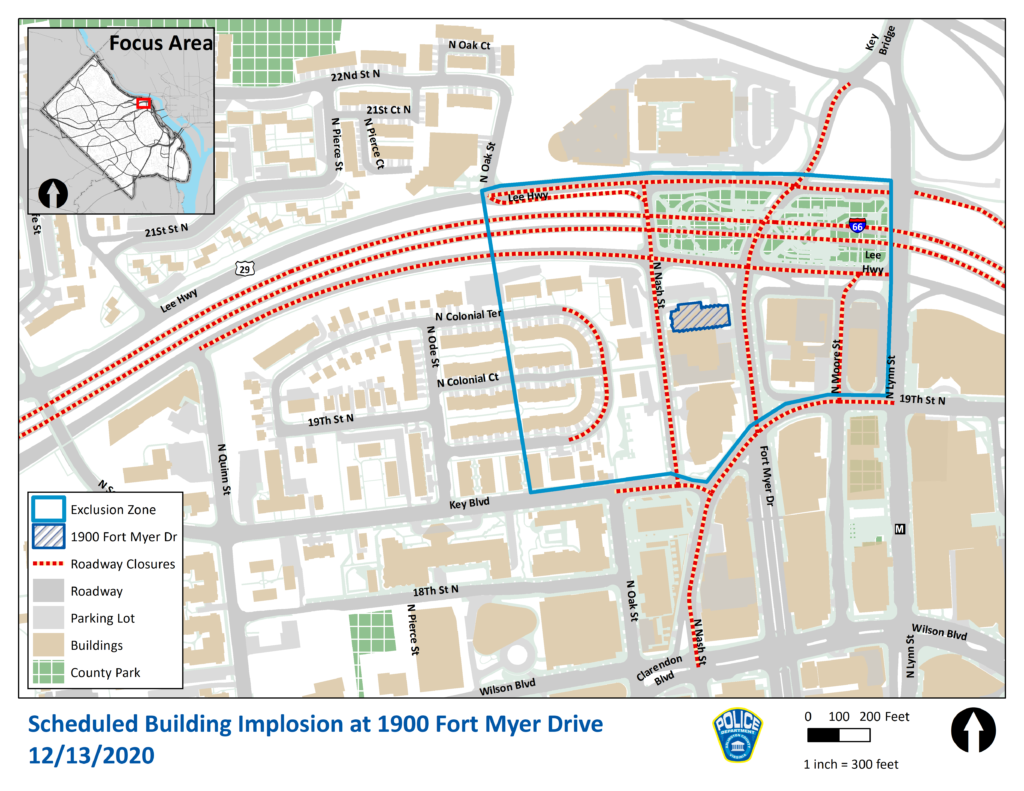 Map of Scheduled Building Implosion Road Closures