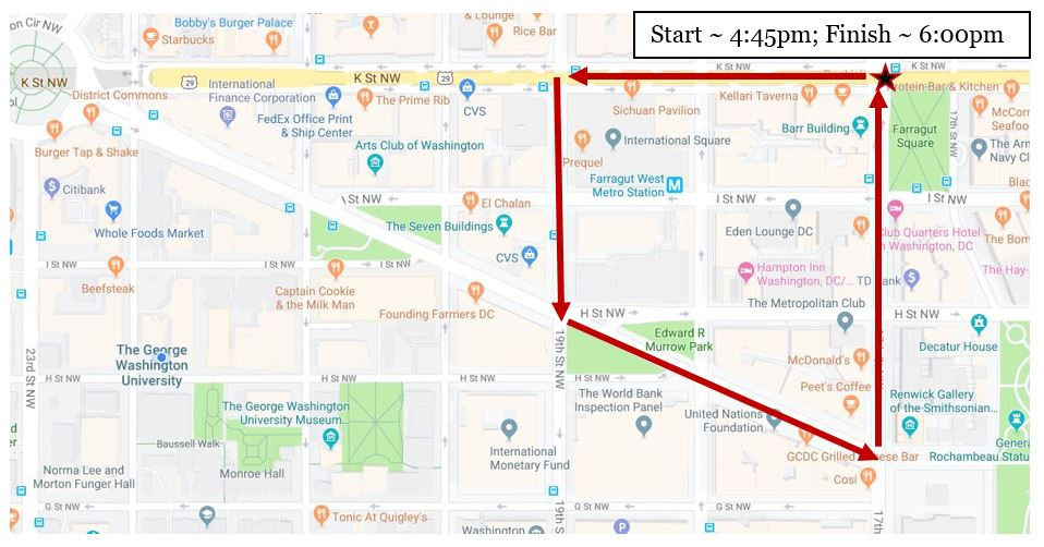 Map of Washington DC showng marchers route